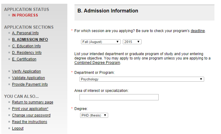 Admission Information