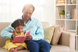 Parent with child reading