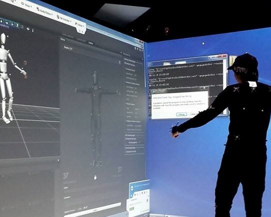 Person performing motion tracking