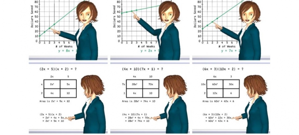 Examples pointing gestures produced by a cartoon avatar standing at a whiteboard