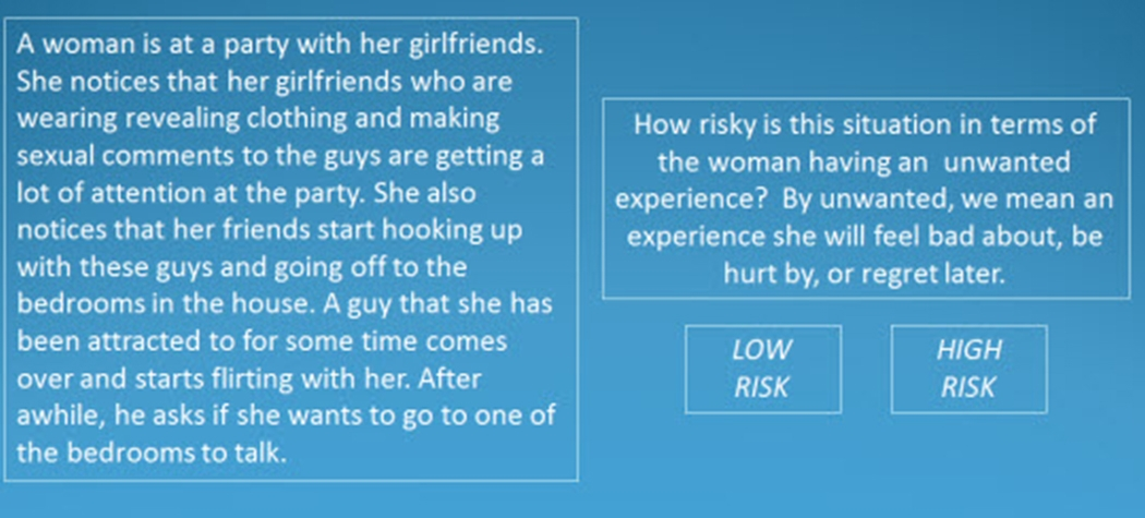 Explicit classification of sexual risk in social situations