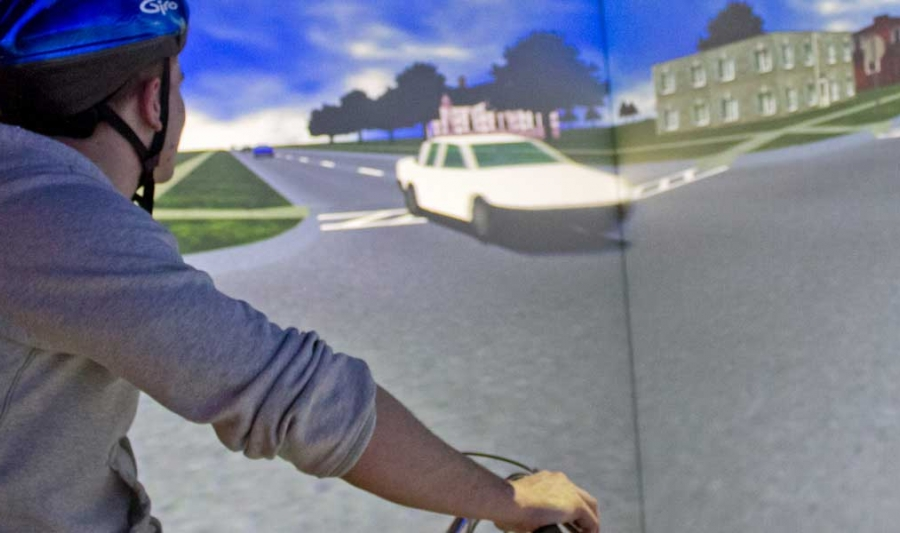A student in the Hank Virtual Environments Lab