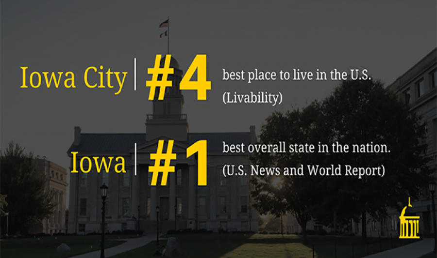 Iowa City #4 best place to live in the U.S. (Livibility), Iowa City is the #1 best overall state in the nation (U.S. News)