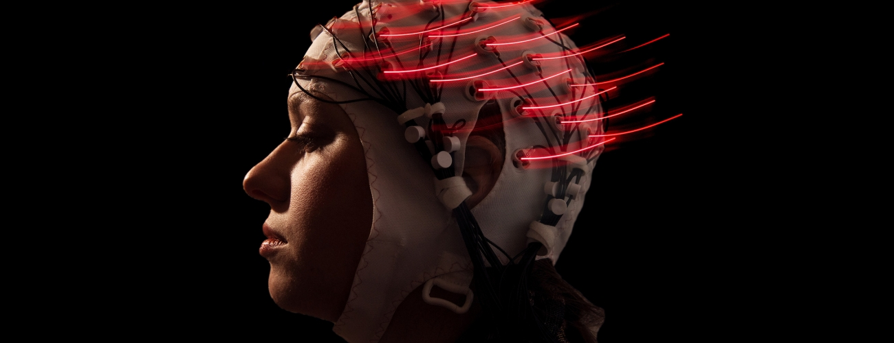 Woman with neural cap